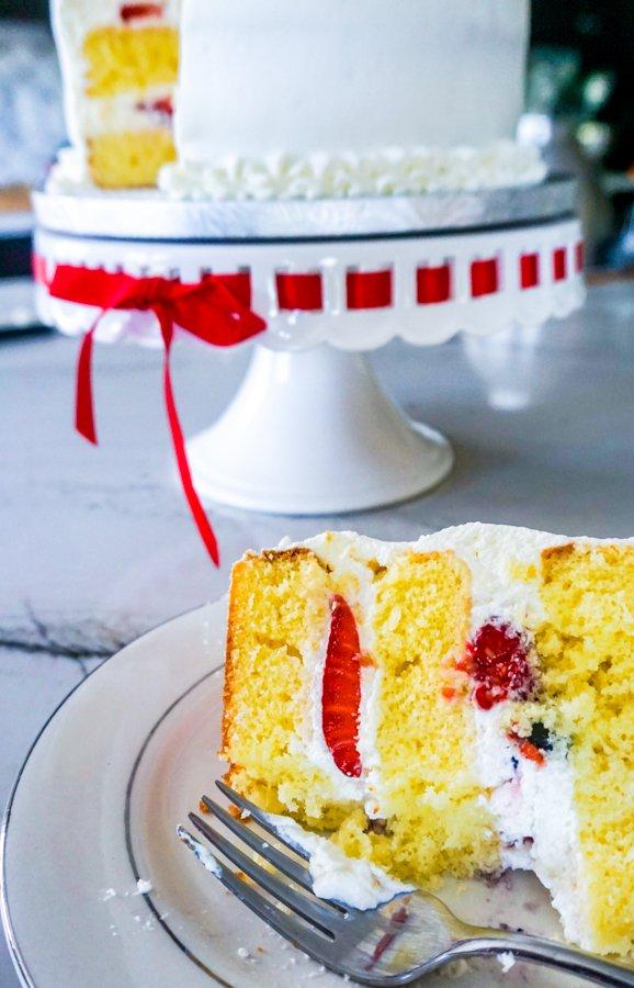 Berry Chantilly Cake slice