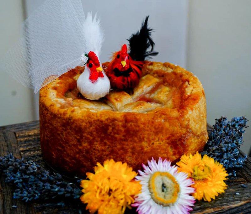 wedding peach pie topper